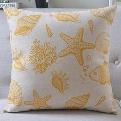 Lino Almohada amarillo de Palm estrellas de mar árbol de la almohadilla del…