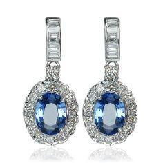 Earring Sapphire Diamond   Saphir-Diamant Ohrstecker in Weissgold mit 2,895 ct Saphir und 0,811ct Diamanten