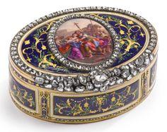 gold, enamel, and diamond snuff box, maker's mark FC crowned, Hanau or Geneva, circa 1780