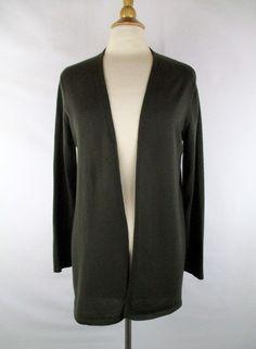 VALERIE BERTINELLI 100% Italian Merino Wool Green Open Cardigan ...