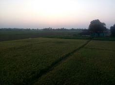 Sun set in winter at village