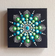 Original Small Mandala Painting on Canvas, Painting, Office and home ornament Henna art Gift Dotilism Dotart, Blue mandala