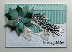Card christmas poinsettia, sizzix tatteres poinsettia, IO pine branch die, Marianne larch branch and pine cones -