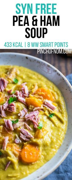 Syn Free Pea and Ham Soup Pinch Of Nom Slimming World Recipes 433 kcal Syn Free 8 Weight Watchers Smart Points Slimming World Soup Recipes, Slimming World Snacks, Slimming Eats, Slimming World Mushroom Soup, Slimming World Speed Food, Weight Watchers Snacks, Slow Cooker Soup, Slow Cooker Recipes, Cooking Recipes