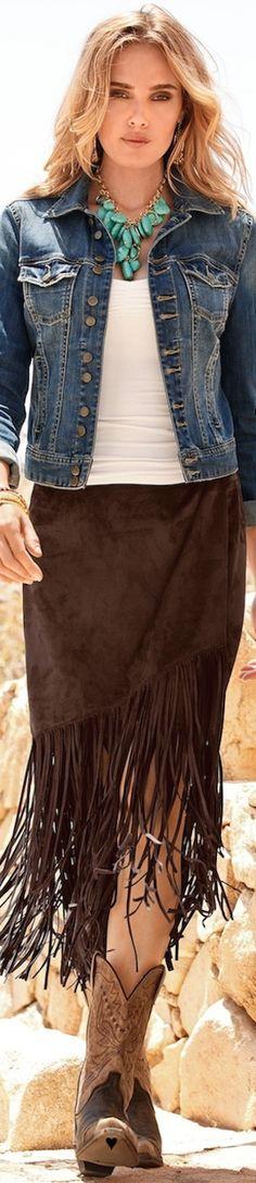 LOOKandLOVEwithLOLO: BOHO CHIC with Boston Proper- Faux Suede Fringe Skirt