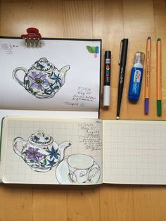 Teapot and teacup sketch. 365 day drawing project. pen, tipped, fountain pen, gouache.