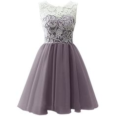 Dresstells Short Tulle Prom Dress Bridesmaid Homecoming Gown with Lace ($50) ❤…