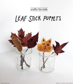 Simple Autumn leaves as puppets Kids Crafts, Easy Fall Crafts, Leaf Crafts, Projects For Kids, Crafts To Make, Art Projects, Arts And Crafts, Fall Diy, Toddler Crafts