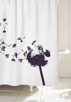 Essential to a bathroom, the shower curtain. How about a shower curtain with a Dandelion on? Feminine design and letting the nature in.