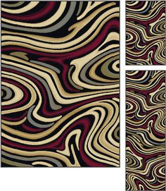 The energy of this three piece rug set will refresh your senses and awaken your decor. The simple abstract design is represented in rich shades of red, beige, brown and green that pop on a charcoal gray background. This versatile pattern will complement many styles and settings, and is constructed of durable 100% polypropylene to allow placement in any room. Available in two individual sizes and as a three piece set so you can harmonize your theme throughout.