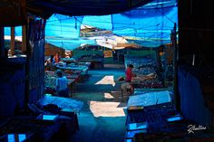 Blue Market  Follow me on instagram riccardo_manteroThe blue tents were giving a ethereal athomosphere to this street market in Ladakh. India.