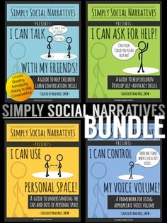 Save over 30% with the Simply Social Narratives BUNDLE!  Simply Social Narratives are evidence-based teaching tools to help children learn and grow in independence, social awareness, communication, and self-advocacy...