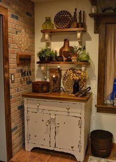 Rustic Decor, Farmhouse Decor, Primitive Country Decorating, Rustic Country Kitchens, Estilo Country, Coffee Bar Home, Primitive Furniture, Cabinet Decor, Cottage Interiors
