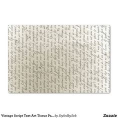 Vintage Script Text Art Tissue Paper on Zazzle @zazzle #zazzle #gift #wrapping #gifting #present #idea #birthday #wrap #fun #buy #shop #sale #shopping #paper #tissue #chic #text #vintage #lettering