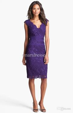 Wholesale Mother of the Bride Dresses - Buy 2014 New Arrival Lace Tulle Sheath Dress Regular Petite V-neck Capped Sleeves Knee-length Evening Dresses Mother of the Bride Dresses, $138.0 | DHgate