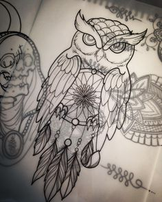 Gorgeous dream catcher owl drawing