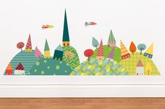 A charming and cheery village decal.