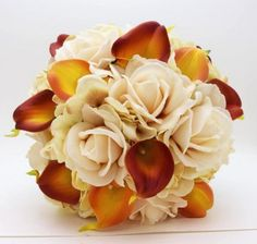 Reserved - Fall Wedding Real Touch Calla Lily Bridal Bouquet Groom Boutonniere Burnt Orange and Brown with Wrist Corsages - Burlap and Lace Yellow Wedding Flowers, Fall Wedding Colors, Fall Bouquets, Fall Wedding Bouquets, Calla Lily Bridal Bouquet, Fall Wedding Bridesmaids, Fall Wedding Centerpieces, Groom Boutonniere, Boutonnieres