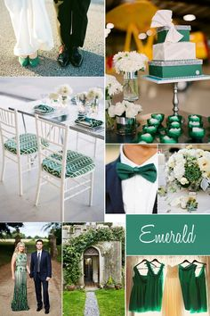 Emerald wedding ideas. Love these use of this chic colour.