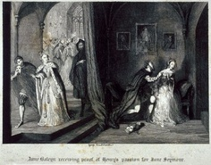 """Anne Boleyn receiving proof of Henry's passion for Jane Seymour. A 19th century engraving of a scene from the Romantic novel 'Windsor Castle' In this scene, a masked ball is taking place when a patron comes up to Anne Boleyn and shows her to her missing husband who is wooing Jane Seymour. Anne critizes Jane for being with her Queen's (Anne's) husband, Jane responds """"It would be Queen Katharine who had spoke those words"""","""