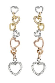 PERFECT FOR VALENTINE'S!   Effy Jewelry 14K Tri Color Diamond Heart Earrings, .25 TCW