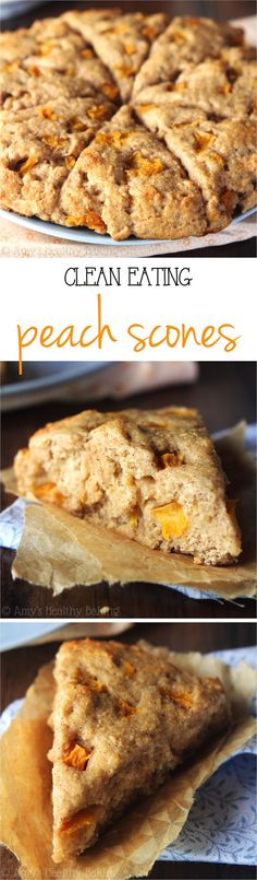 Healthy Peach Scones – they practically taste like peach pie! So easy, supremely tender & packed with almost of protein! ♡ easy peach scones recipe with fresh or canned peaches. clean eating low calorie scones no eggs. Weight Watcher Desserts, Healthy Baking, Healthy Desserts, Healthy Recipes, Clean Recipes, Vegetarian Recipes, Healthy Food, Peach Scones, Breakfast Recipes