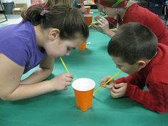 game idea- They had put the pile of mini marshmallows into the cup using a straw. It was totally quiet in the room!