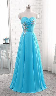 Blue Chiffon Beaded Chiffon Long Prom Dress #prom #promdress #dress #eveningdress #evening #fashion #love #shopping #art #dress #women #mermaid #SEXY #SexyGirl #PromDresses