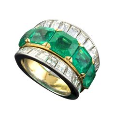 Van Cleef & Arpels Emerald Diamond Platinum Ring | From a unique collection of vintage band rings at http://www.1stdibs.com/jewelry/rings/band-rings/