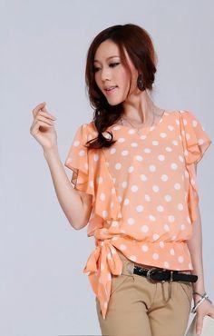 Aliexpress.com: Купить 2015 Ssummer женщины шифон блузка рубашка женская мода черный блузка дамы свободного покроя рубашка сладкий точка CS4159 из Надежный рубашки мужчин график размеров поставщиков на Lovabeauty Co. Ltd.