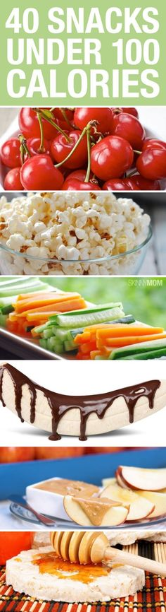 """Healthy snack for kids - Easy snack ideas for kids """"Looking for some skinny snacks? Try out any of these that are under 100 calories!"""""""