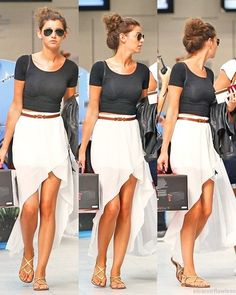 Perfect outfit (Eleanor Calder) Ray-Ban aviator sunglasses, black crop top, belted white high-low skirt and sandals