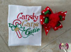 Candy Cane Cutie Boutique Shirt & Bow by SparklesnCowgirls on Etsy, $22.00