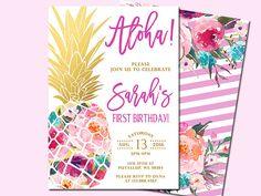 Pineapple Birthday Invitation Tropical Aloha Birthday