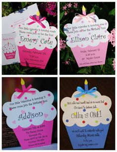 Cupcake Birthday Invitation by palmbeachpolkadots on Etsy, $2.00