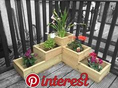 garden Planters Decking - Wooden 3 tier corner garden decking planter fully lined mitred corners. The Effective Pictures We Offer You About Garden Planters brick A quality p Deck Planters, Wooden Garden Planters, Tiered Garden, Flower Planters, Planter Boxes, Cheap Planters, Tiered Planter, Garden Pallet, Wooden Terrace
