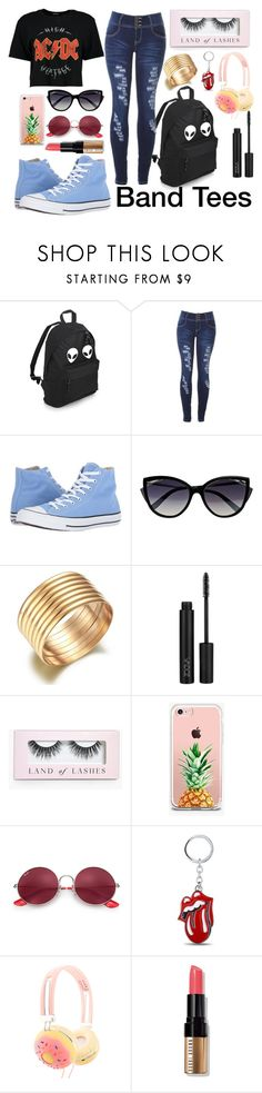 """""""Band Tees"""" by swimmkitty ❤ liked on Polyvore featuring Converse, La Perla, Boohoo, The Casery, Ray-Ban and Bobbi Brown Cosmetics"""
