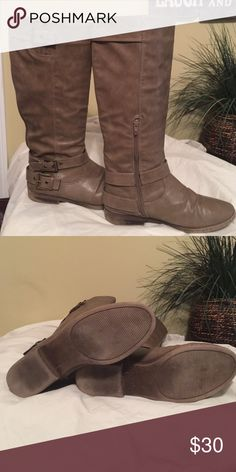 Taupe tall boots Tall taupe boot in great condition. Side strap detailing. Cute and comfortable! Shoes Heeled Boots
