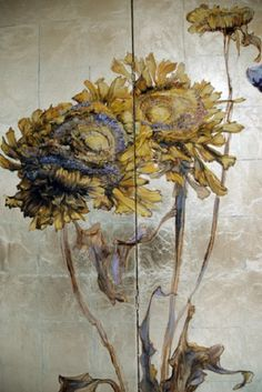Claire Basler - Oil painting on folding screen (detail)
