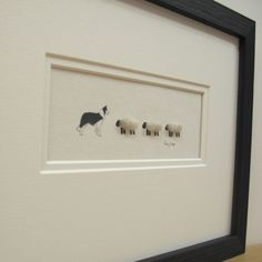 #Handmade picture by Penny Lindop Designs - Border Collie with 3 Woolly sheep - £20.00 unframed (£40 framed)  (http://www.pennylindop.com/picture-collie-and-3-sheep/)