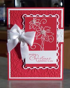 Embossed Poinsettias Christmas Card - Stampin Up Christmas Blessings. $5.00, via Etsy.