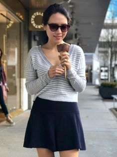 Enjoying my after lunch walking and ice cream in my Callan Wool Blend Crop Striped Sweater from Alice & Olivia