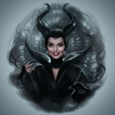 "Daniel Kordek op Instagram: ""Maleficent! Based on screencap from the movie :) Perfect role for perfect Angelina Jolie #maleficent #disney #disneyland #illustration #digital #digitalpainting #drawing #instaarte #instaartist #angelina #angelinajolie #devil #devilish #dark #goth #villain #villains #crow #raven #horns #horn"""