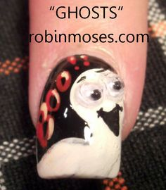 Nail-art by Robin Moses: ghost http://www.youtube.com/watch?v=0USV4uBI9sk