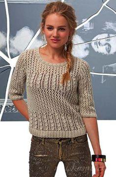 Вязаный пуловер спицами по иписанию и схеме