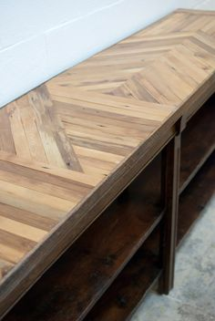 In this tutorial, Rachael puts her power tools to use to refinish an industrial buffet table, adding an inlaid wooden counter made of salvaged lathes.