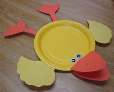 yellow paper plate duck