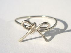 Hammered Silver Wire Bow Ring  | pavlos - Jewelry on ArtFire