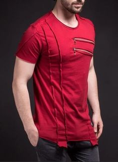 SAW Men Asymmetrical Zippers T-shirt - Deep Red -You can find Zippers and more on our website.SAW Men Asymmetrical Zippers T-shirt - Deep Red - Slim Fit Polo Shirts, Casual T Shirts, Men Casual, Short T Shirt, Style Masculin, Mens Clothing Styles, Swagg, Denim Fashion, Workout Shirts