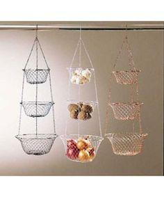 Metro 3-tier Hanging Kitchen Basket in White - Fruit storage